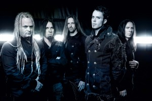 Kamelot from left to right: Sean Tibbets (bass), Casey Grillo (drums), Oliver Palotai (keyboards), Tommy Karevik (vocals) and Thomas Youngblood (guitars)