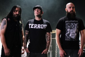 Nightrage from left to right: Marios Iliopoulos (guitars), Anders Hammer (bass) and Ronnie Nyman (vocals)